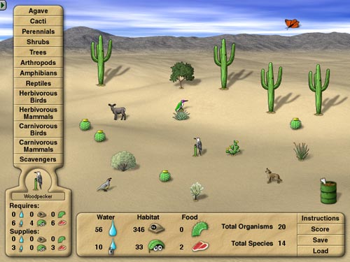 The build-a-desert game allows users to try to build a balanced ecosystem