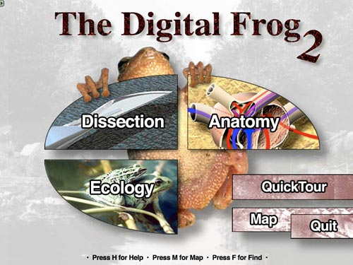 The Digital Frog 2.5 main menu