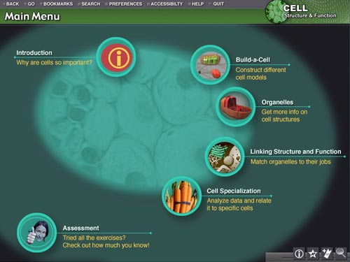 ScienceMatrix: Cell Structure and Function main menu